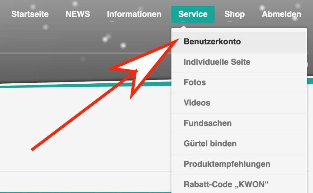 Im Haupfmenü unter Service findest du den Link zu deinem Benutzerkonto